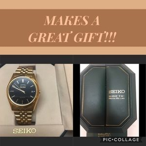 SEIKO MEN'S GOLD KINETIC WATCH WITH BLACK FACE